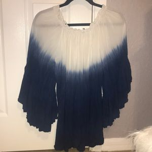 Elan Blue & White Tie Dye Cover Up